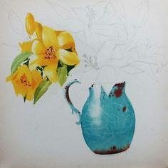 Lily in blue vase Still Life Drawing, Watercolor Lesson, Watercolour, Lily, Vase, Drawings, Floral, Flowers, Blog