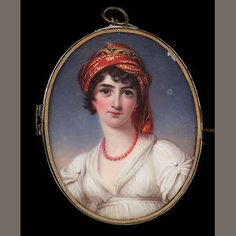 Bonhams 1793 : Henry Bone R.A., Mrs. John Halkett (née Anne Todd) (d.1805), wearing white dress, coral necklace, matching earrings and embroidered turban in her dark hair