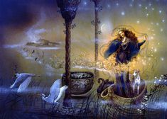 Priestress or Avalon, by Kinuko Y. Craft Opening to and aligning with Goddesses and the Sacred Feminine Divine is augmented by sacred rituals, alters and ceremony.