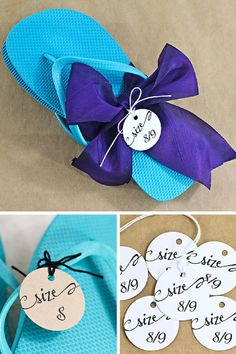d78d1c1a6e1b2 Dress up inexpensive flip flops for your beach wedding with these  personalized size tags by I