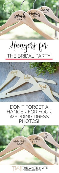 Wedding Hangers for Bridal Party, Bridesmaid Wedding Hangers, Wedding Dress Hanger This custom wedding dress hanger is the perfect way to show off your gorgeous gown in your wedding photos! They are also perfect for your bridesmaids as a keepsake to remember for years to come!
