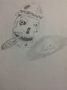 Pencil drawing f skull
