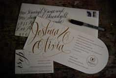 Wedding Invitation Suite. Simple with bride + groom calligraphy