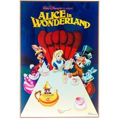Silver Buffalo Disney Alice in Wonderland Tea Party Classic Mini Movie Poster Wall Art, x Cadeau Disney, Disney Rooms, Classic Movie Posters, Alice In Wonderland Tea Party, Art Craft Store, Wooden Wall Art, Wood Wall, Lewis Carroll, Music For Kids