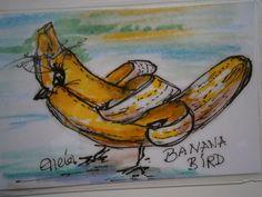 Taschenkunst Banana Bird Natur pur KCA 25  von kunstpause auf DaWanda.com