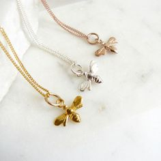 689364581 A simple yet stylish gold vermeil necklace featuring a bee charm designed  exclusively for Lime Tree Design.