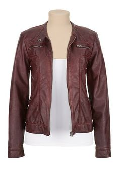 CUTE leather jacket- great for fall and early spring- gorgeous color