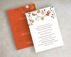 Orange and brown vine, autumn wedding invitations, wedding invites www.appleberryink.com