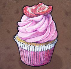 Chocolate Strawberry Slices by Kathrine Allen-Coleman Cupcake Painting, Cupcake Art, Dessert Illustration, Food Artists, Strawberry Slice, Raspberry Sauce, Chocolate Cupcakes, Food Illustrations, Icing