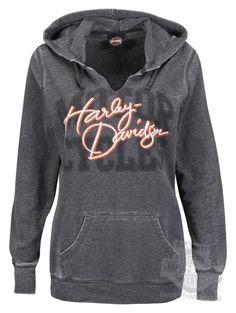 5B24-H61Z - Harley-Davidson® Womens Yes, It's Fast Split Neck Seam Burnout Charcoal Long Sleeve Hoodie - Barnett Harley-Davidson®