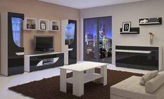 BRYZA biało czarne meble w połysku komody szafki pod telewizor i oszklone witryny przeznaczone do nowoczesnych pomieszczeń