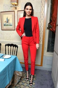 Kendall Jenner wearing Red Blazer, Black Tank, Red Dress Pants, Black Leather…