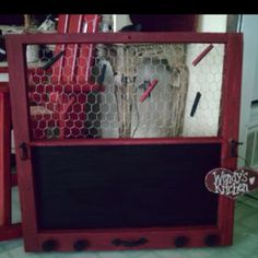 Cool idea for old windows - memo center with chicken wire and chalk board...