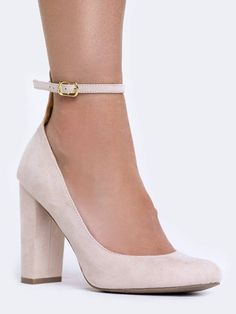 - For trendsetting appeal slip on these ankle strap heels! - Vegan suede pumps have a slightly rounded toe with a block heel. - Non-skid sole and cushioned footbed. - Color- Nude Suede - Synthetic upp #anklestrapsheelsprom