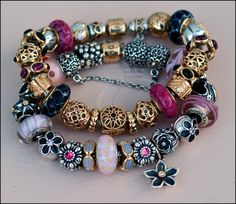 Pandora pinks with a taste of black : lotus, rhodolite and gold