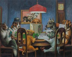 Dogs Playing D&D, a painting by Johannes Grenzfurthner of Austrian art and tech group Monochrom.