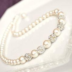 Bridal Necklace. Swarovski Bridal Jewelry, Pearl and Rhinest... - Polyvore