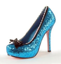 """Ellie Shoes Sexy Blue Glitter 5"""" High Heel Princess Costume Shoes $33.97"""