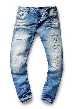 Restored denim repairs rips and distressed garments using traditional techniques from archival workwear. My Jeans, Slim Jeans, Denim Pants, Ripped Jeans, Trousers, Rocker Look, Denim Ideas, Raw Denim, Vintage Denim