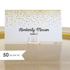 50 Wedding Place Cards- Escort Card- Gold Wedding Place Cards- Wedding Name Cards- Gold Place Cards- Gold Placecards- Wedding Tent Cards