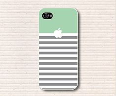 unique iphone 5 case - mint grey stripe iphone5 case iphone 5 cover on Etsy, $14.50