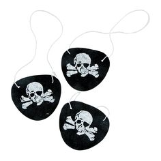 You cant call yourself a true pirate until you wear an eyepatch!  These Felt Pirate Eyepatches are the perfect costume accessory during all your swashbuckling fun! A must-have item for all your high seas shenanigans, these pirate eye patches for kids are sure to make everyone ready to set sail. Featuring a pirate skull and crossbones on each one, these eyepatches make a perfect addition to all your other pirate party supplies! Each 2 1/2 eyepatch includes elastic string. $5.25/dozen