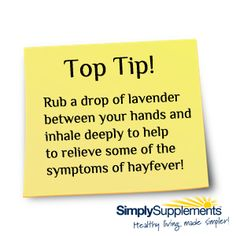 Simply Supplements top #hayfever tip!
