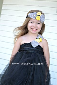 Black Tutu Dress with Yellow and Grey Rosettes Tea by TutuFairy, $64.00