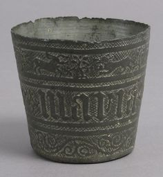 Beaker Date: 15th century Culture: French Medium: Pewter Dimensions: Overall: 2 1/2 x 2 11/16 in. (6.3 x 6.9 cm)