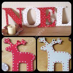 #NOEL #wooden #painted #letters #christmas #red #white #polkadot #jenthecraftyhen maar dan de letters k e r s t