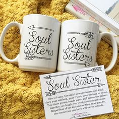 """Soul Sisters"" Coffee Mugs (s/2; from The Sister Studio via Etsy)"