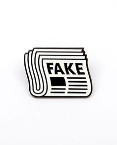Fake News pin from JUNK-O This post is fake news! You are fake news! Everything is fake news! Available to purchase through their link in bio! of proceeds get donated to the Committee to Protect Journalists. Tattoo Dotwork, Cool Pins, Pin And Patches, Fake News, Cartoon Art, Tattoo Drawings, Line Art, Art Sketches, Tatoos