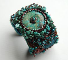 Turquoise Dream Bead Embroidery Cuff by totallytwisted on Etsy