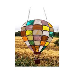 Handmade Stained Glass Hot Air Balloon Suncatcher Decoration