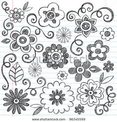 Flowers Sketchy Doodles Hand-Drawn Back to School Notebook Vector Illustration Design Elements on Lined Sketchbook Paper Background by blue6...