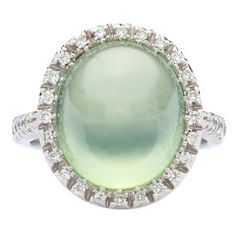 Favero Prehnite & Diamond Ring | From a unique collection of vintage cocktail rings at https://www.1stdibs.com/jewelry/rings/cocktail-rings/