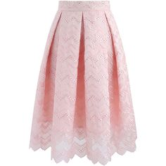 Chicwish Oh-so-sweet Wavy Embroidered Pleated Skirt ($37) ❤ liked on Polyvore featuring skirts, bottoms, gonne, jupe, pink, chicwish skirt, embroidered skirt, knee length a line skirt, pleated skirt and a-line skirt
