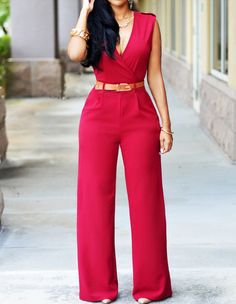 Womens Sleeveless Red V Neck Belted Wide Leg Long Pants Jumpsuit