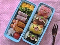 The OCD in me loves this bento for being so neatly stacked & organized. (It's really cute too!)