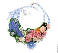 """Купить Колье """" Восточные сказки """" по мотивам древнего праздника Японии - розовый, зеленый"""