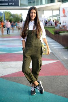 casual, easy going, relaxed... military green overall, white bottoned up shirt and grey nike air sneakers
