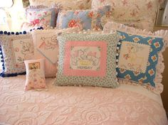 Sweet Cottage Dreams: Vintage Textiles - Display and Repurposing -  ideas work for old quilt blocks too