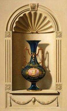 Jermann. Oil on linen. Blue vase.