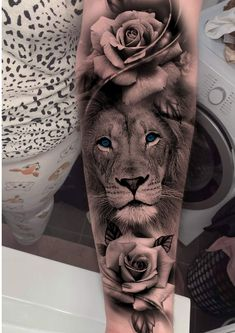 Lion And Rose Tattoo, Lion Tattoo With Flowers, Lion Arm Tattoo, Lion Tattoo Sleeves, Lion Head Tattoos, Best Sleeve Tattoos, Mandala Lion Tattoo, Lion Woman Tattoo, Hip Thigh Tattoos