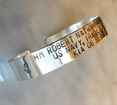 Fallen Hero Memorial Hand Stamped Bracelet, Remembrance Cuff, Always in My Heart, Personalized Brace Anniversary Jewelry, Fallen Heroes, Personalized Bracelets, Valentines Jewelry, Marquise Diamond, Photo Jewelry, Stone Necklace, Hand Stamped, Cuff Bracelets