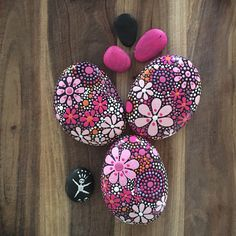 Painted Rock Art - Natural Decor - Mandala Inspired Design - pink persuasion Trio collection #16 - $36.00