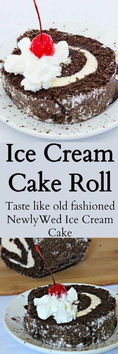 Chocolate cake filled with ice cream. Tastes like vintage NewlyWed Ice Cream Cake of days gone by.