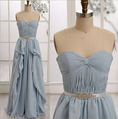 Blue Chiffon Bridesmaid Dress/Prom Dress Strapless Sweetheart Dress