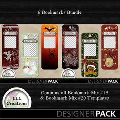 Bookmark Mix Bundle #11 Template from LLL Creations. For use with My Memories Suite or download the zip to use in other programs. This bundle set includes bookmarks: VALENTINE, EASTER, HALLOWEEN, CHRISTMAS, NOEL, SANTA