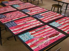 Flag art. Collage words onto poster board. Translucent paint for over the flag.